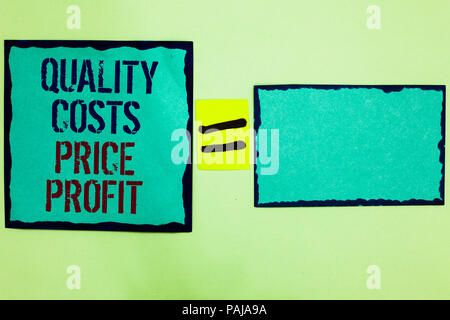 Handwriting text writing Quality Costs Price Profit. Concept meaning Balance between wothiness earnings value Black bordered blue page written on text - Stock Photo