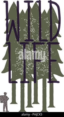 Vintage emblem of tourist-traveler in forest and the inscription 'wild life'. Grunge badge, typogrphic symbol suitable for T-shirts or print. Isolated - Stock Photo
