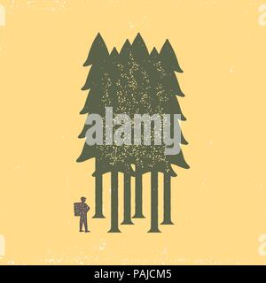 Vintage poster of the tourist-traveler in the forest on a yellow background. Grunge badge, typogrphic symbol suitable for T-shirts or print. Isolated  - Stock Photo