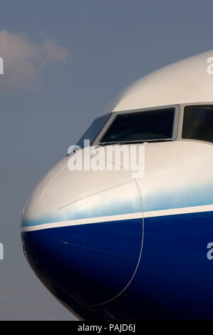 nose and windshield on Boeing 777-240LR at the 2005 Paris AirShow, Salon-du-Bourget - Stock Photo
