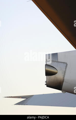 tail of the Airbus A380-800 parked in the static-display at the 2006 Farnborough International Airshow - Stock Photo