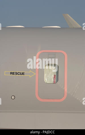 emergency exit door of the Royal Air Force RAF Bombardier Sentinel R-1 parked in the static-display at the 2006 Farnborough International Airshow - Stock Photo