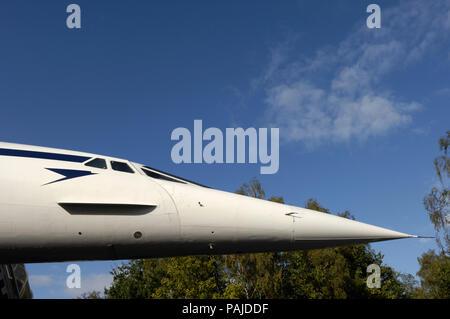 nose of a British Airways Aerospatiale BAC Concorde - Stock Photo