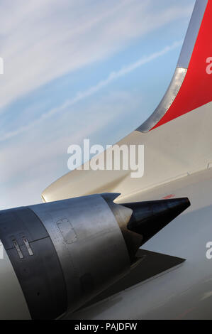 engine exhaust of the Northwest Airlink - Mesaba Airlines, USA Bombardier CRJ-900 Next Generation parked in the static-display at the Paris AirShow 20 - Stock Photo
