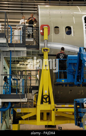 A Boeing 787 centre fuselage one-piece-barrel in production-line at the Alenia Grottaglie Factory - Stock Photo