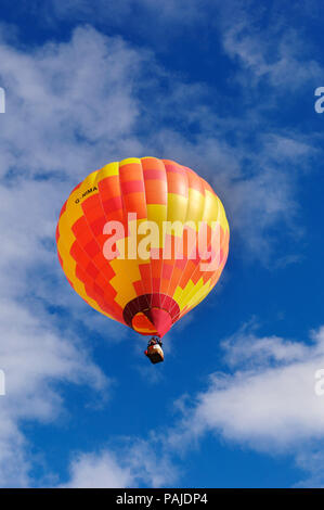 a Kubicek BB-30 hot-air balloon flying - Stock Photo
