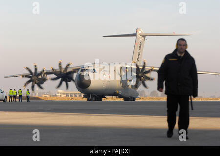 the first-flight take-off of the first Airbus A400M flight-test aircraft at Seville San Pablo 11th December 2009 - Stock Photo