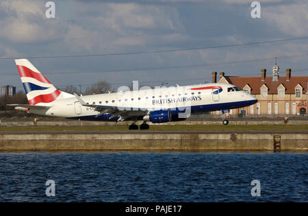 British Airways BA CityFlyer Embraer 170 taking-off - Stock Photo