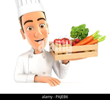 3d head chef holding wooden crate of vegetables, illustration with isolated white background - Stock Photo