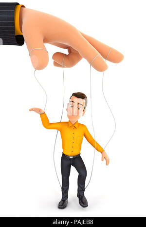 3d man puppet concept, illustration with isolated white background - Stock Photo