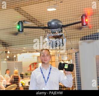 on the  exhibition-stand in the halls at the Farnborough Airshow 2010 - Stock Photo