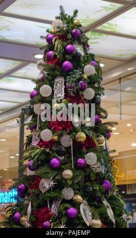 Kyoto, Japan - Nov 27, 2016. Decorated Christmas tree at shopping center in Kyoto, Japan. - Stock Photo
