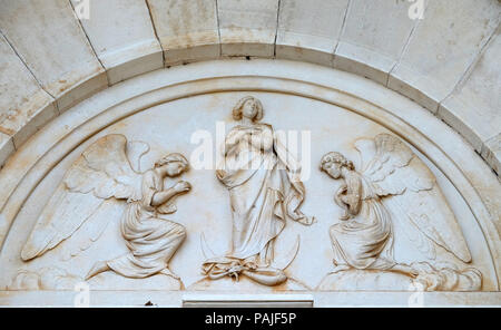 The Virgin Mary is surrounded by angels, parish church of St. Pelagius, was until 1828 Cathedral of the Diocese of Cittanova, Novigrad, Croatia - Stock Photo