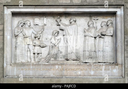The Eucharistic Congress in Budapest in 1938, bass relief on the Saint Stephen`s Basilica in Budapest, Hungary - Stock Photo