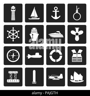 Black Simple Marine, Sailing and Sea Icons - Vector Icon Set - Stock Photo
