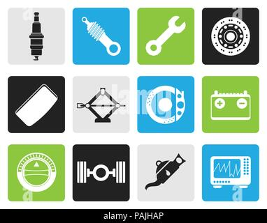 Black Realistic Car Parts and Services icons - Vector Icon Set 1 - Stock Photo