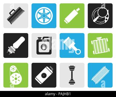 Black Realistic Car Parts and Services icons - Vector Icon Set 2 - Stock Photo