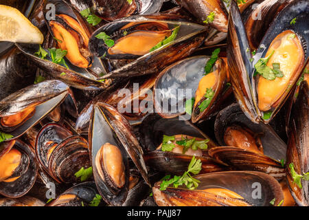 Closeup of cooked mussels, shot from above - Stock Photo