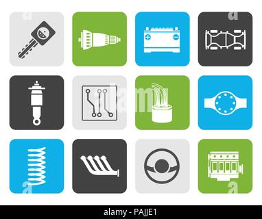 Flat Realistic Car Parts and Services icons - Vector Icon Set 2 - Stock Photo