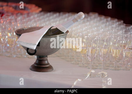 Champagne for bride and groom at wedding reception - Stock Photo