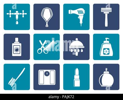 Flat Personal care and cosmetics  icons - vector icon set - Stock Photo