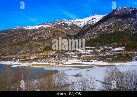Lanuza village and reservoir in Pyrenees of Huesca of Spain - Stock Photo