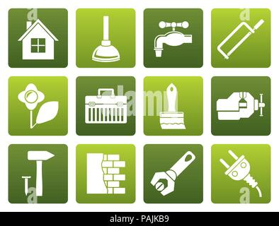 Flat construction and do it yourself icons - vector icon set - Stock Photo