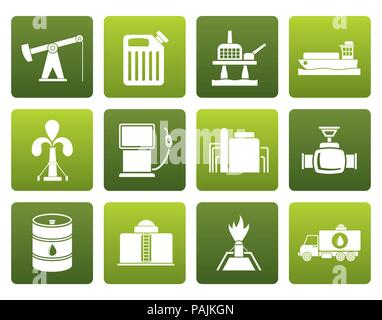 Flat Oil and petrol industry icons - vector icon set - Stock Photo
