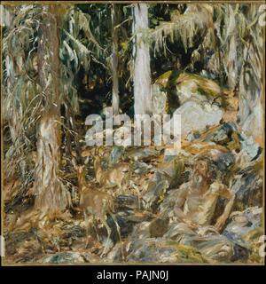 The Hermit (Il solitario). Artist: John Singer Sargent (American, Florence 1856-1925 London). Dimensions: 37 3/4 x 38 in. (95.9 x 96.5 cm). Date: 1908.  Sargent based this painting on sketches he had made in Val d'Aosta, in the foothills of the Alps, in northwestern Italy. Although he seems to have been preoccupied with rendering the sundappled landscape in textured brushstrokes, he also included two deer (contrived from a stuffed specimen) and a male figure that evokes religious personages such as Saint Jerome. Yet, when approving The Hermit as the translated title of the picture, Sargent wro - Stock Photo