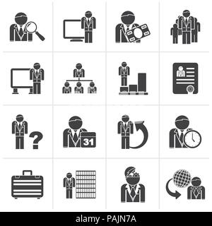 Black Business, management and hierarchy icons - vector icon set - Stock Photo