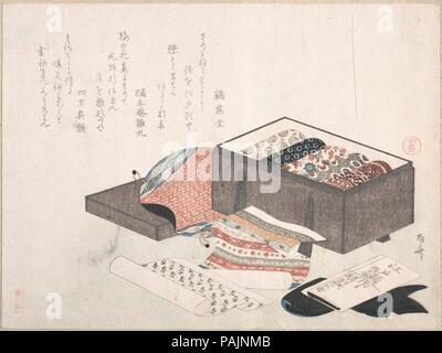 Box with Draperies. Artist: Ryuryukyo Shinsai (Japanese, active ca. 1799-1823). Culture: Japan. Dimensions: 8 1/4 x 11 1/6 in. (21 x 28.4 cm). Date: 19th century. Museum: Metropolitan Museum of Art, New York, USA. - Stock Photo