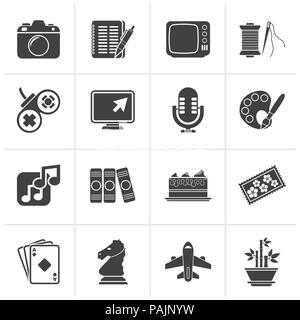 Black Hobbies and leisure Icons - vector icon set - Stock Photo
