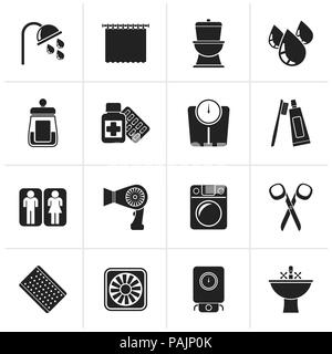Black Bathroom and Personal Care icons- vector icon set 2 - Stock Photo