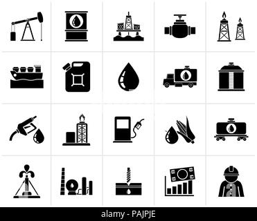 Black Oil industry, Gas production, transportation and storage icons - vector icon set - Stock Photo