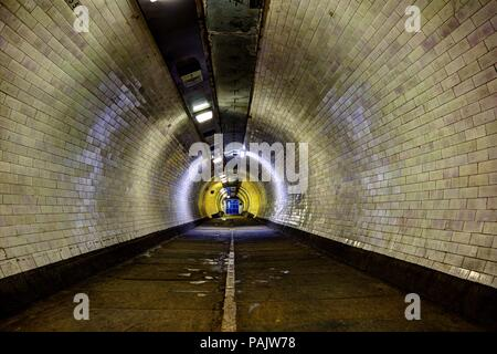 subway tunnel under the thames river, London, England, UK - Stock Photo