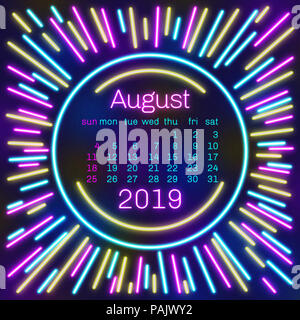 August month in a year 2019 wall calendar in spanish ...