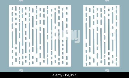 Vector illustration. Decorative panel lines, laser cutting. cut wooden panel. - Stock Photo