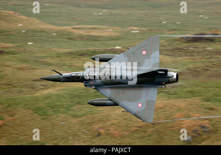 Armée de l'Air (French Air Force) Dassault Mirage 2000D 649/3-XY, EC 03.2003 'Ardennes'. Coteau Delta display team  Bwlch Exit, Mach Loop - Stock Photo