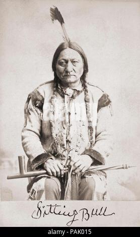 Sitting Bull born circa 1831-1890. Hunkpapa Lakota Sioux holy man.  After a portrait on a 19th century cabinet card. Facsimile of his signature beneath portrait. - Stock Photo