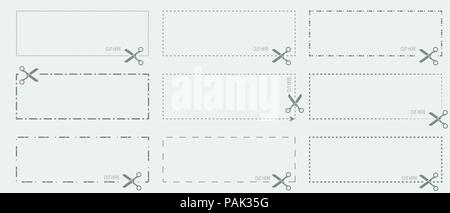 vector coupon template with cut out dashed or dotted lines and