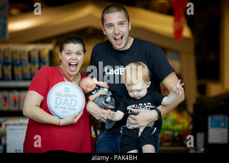 Mark Hoyle AKA Lad Baby pips HRH Prince William to the post as he wins Clas Olson celebrity dad of the year 2018   Pictured with  wife Roxanne, sons K - Stock Photo