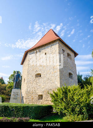 Taylor's Bastion and war general and hero Baba Novac Statue near the center of Cluj Napoca in Transylvania region of Romania on a sunny summer day in  - Stock Photo