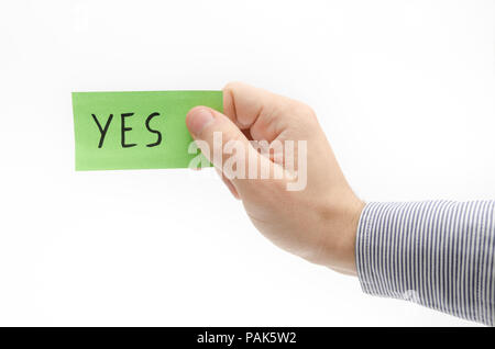 YES word suggesting approval and confirmation - Stock Photo