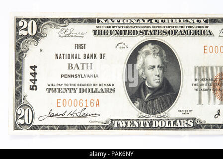 A US twenty dollars bank note from the First National Bank of Bath, Pennsylvania. - Stock Photo