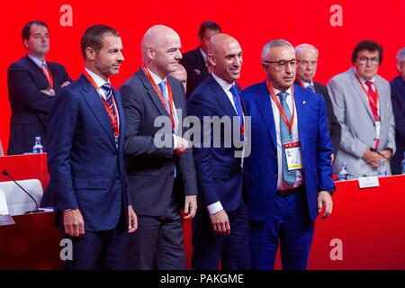 Madrid, Spain, 24 July 2018. Luis Rubiales (2-R), President of Royal Spanish Soccer Federation (RFEF); FIFA's counterpart, Gianni Infantino (2-L), UEFA's head, Aleksander Ceferin (L), and Spanish Olympic Committee's President, Alejandro Blanco (R), attend the RFEF's Assembly meeting, in Madrid, Spain, 24 July 2018. EFE/Rodrigo Jimenez Credit: EFE News Agency/Alamy Live News - Stock Photo
