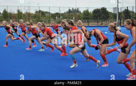 London, UK. 24th July, 2018. The team do sprints during training. England training session. Womens Hockey World Cup 2018. Lee Valley hockey centre. Queen Elizabeth Olympic Park. Stratford. London. UK. 24/07/2018. Credit: Sport In Pictures/Alamy Live News - Stock Photo