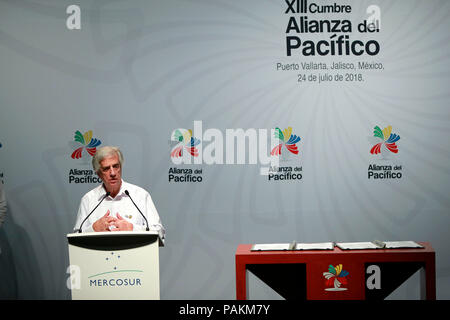 Puerto Vallarta, Mexico. 24th July, 2018. Uruguayan President Tabare Vazquez takes part in a joint press conference at the 13th Summit of the Pacific Alliance in Puerto Vallarta, Mexico, 24 July 2018. The Summit is being held this July 23 and 24 in the resort of Puerto Vallarta, in the Mexican Pacific. EFE/JOSE MENDEZ Credit: EFE News Agency/Alamy Live News - Stock Photo
