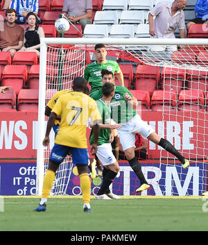 London UK 24th July 2018 - Leon Balogun and Lewis Dunk of Brighton combine to clear the ball during the pre season friendly football match between Charlton Athletic and Brighton and Hove Albion  at The Valley stadium  Photograph taken by Simon Dack Credit: Simon Dack/Alamy Live News - Stock Photo