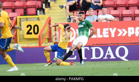 London UK 24th July 2018 - Leon Balogun of Brighton clears the ball during the pre season friendly football match between Charlton Athletic and Brighton and Hove Albion  at The Valley stadium  Photograph taken by Simon Dack Credit: Simon Dack/Alamy Live News - Stock Photo