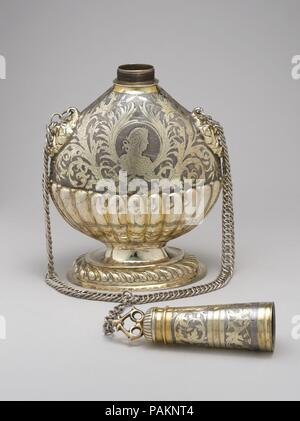 Pilgrim flask. Culture: German, Leipzig. Dimensions: Overall (confirmed, wt. not confirmed): 16 5/16 x 8 3/8 x 5 1/4 in., 3.9lb. (41.4 x 21.3 x 13.3 cm, 1.75kg). Maker: I.P.S.. Date: ca. 1680-1700. Museum: Metropolitan Museum of Art, New York, USA. - Stock Photo